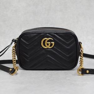 GUCCI グッチ 448065 GGマーモント ショルダーバッグ レザー ブラック