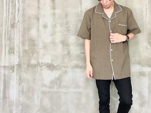 white line khaki shirt