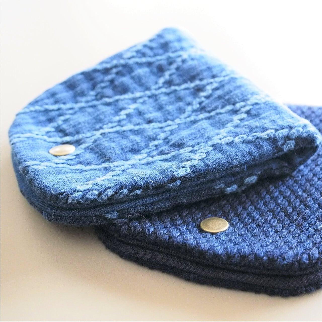 うしじま縫製   武州正藍染 マスクケース 二重刺子