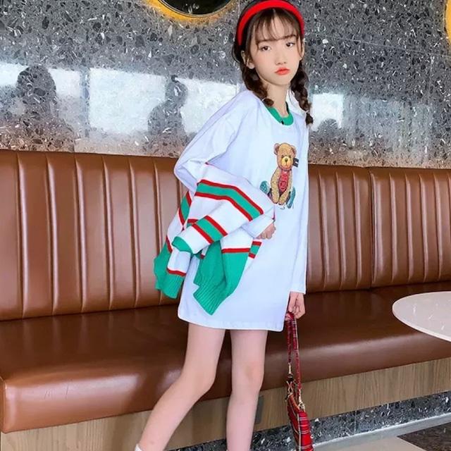 120~170cm ★ 長袖 テディベア ロンT ロングTシャツ Tシャツ