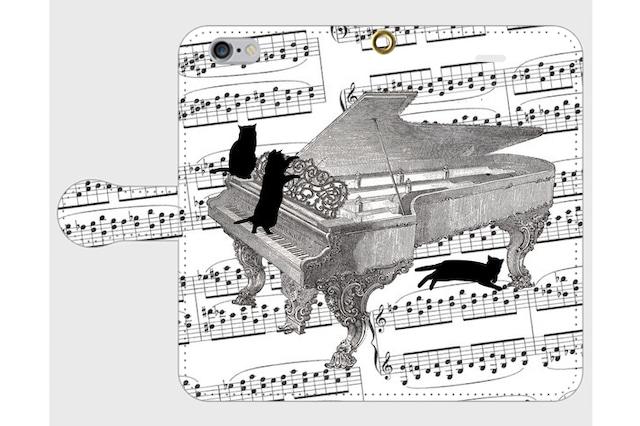 (iPhone用)ピアノと黒猫の手帳型スマホケース
