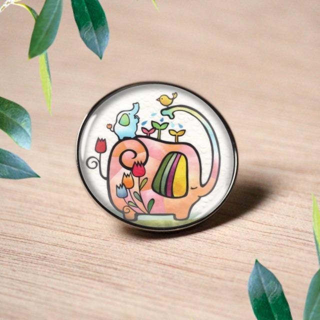 ピンバッチ :  象さんの応援花