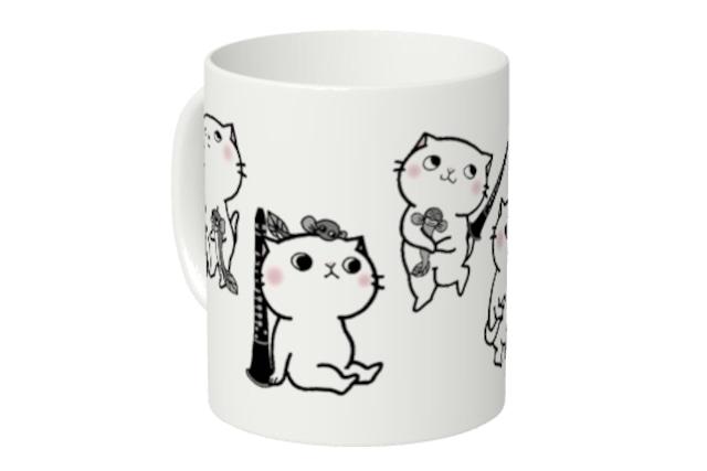 【即日出荷用】クラリネット猫にゃんマグカップ