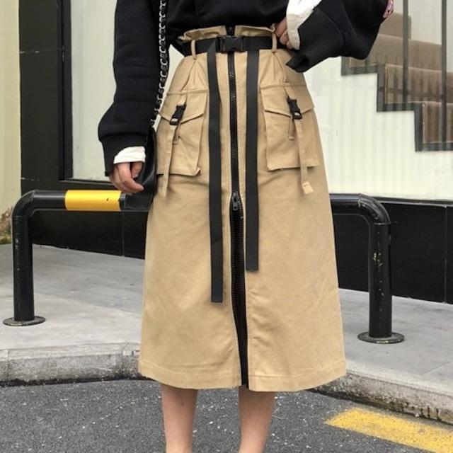 【ボトムス】ファッションファスナーベルト付きスカート43149559