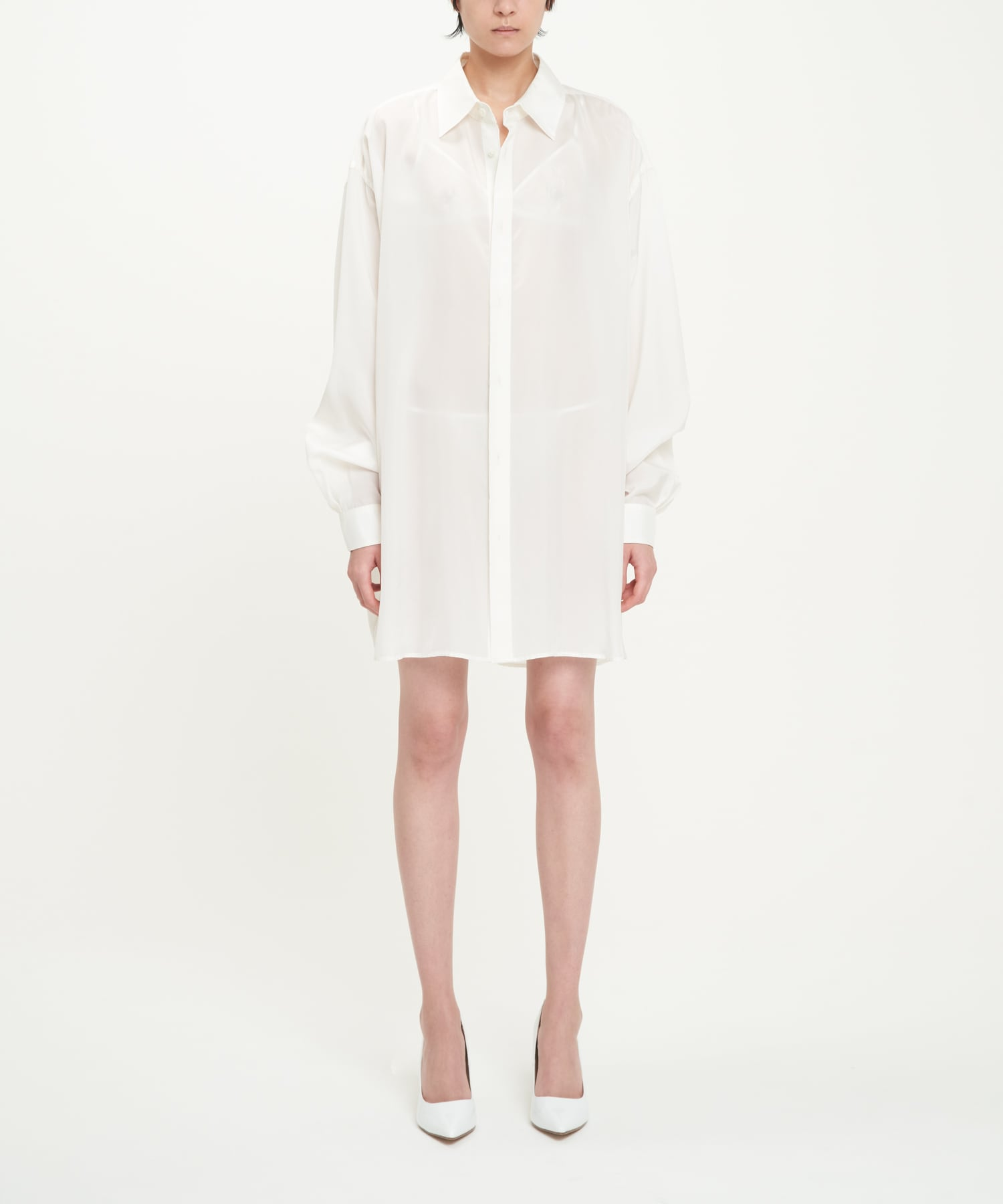 White Double Buttonhole Oversized Cupro Shirt