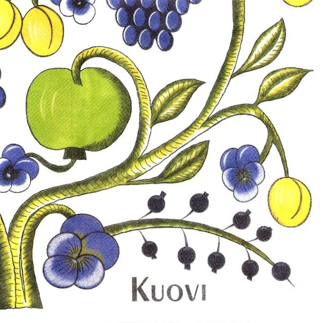 北欧【Kuovi】バラ売り1枚 ディナーサイズ ペーパーリネンナプキン ORCHARD イエロー フィンランド製 ARABIA PARATIISI