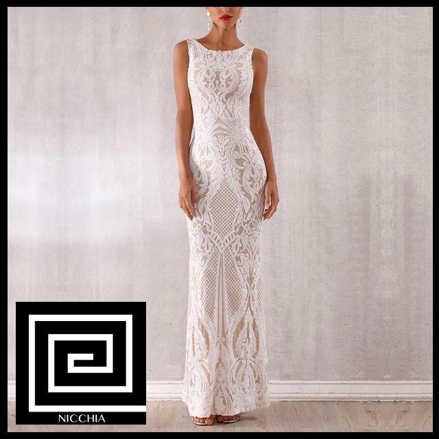 ホワイトスパンコールマキシイブニングドレス