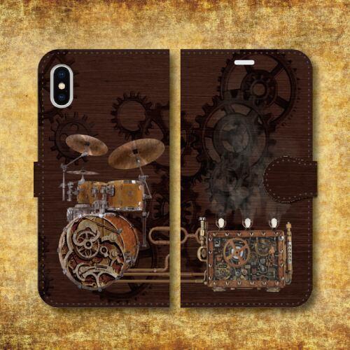 スチームパンク調/楽器/歯車/機械仕掛け/レトロ/SF/蒸気機関/ドラム/iPhoneスマホケース(手帳型ケース)
