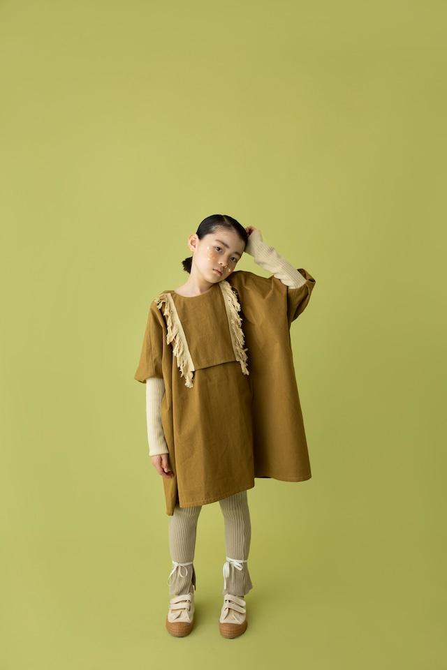 【21AW】folkmade(フォークメイド)fringe dress ワンピース khaki beige(S/M/L)