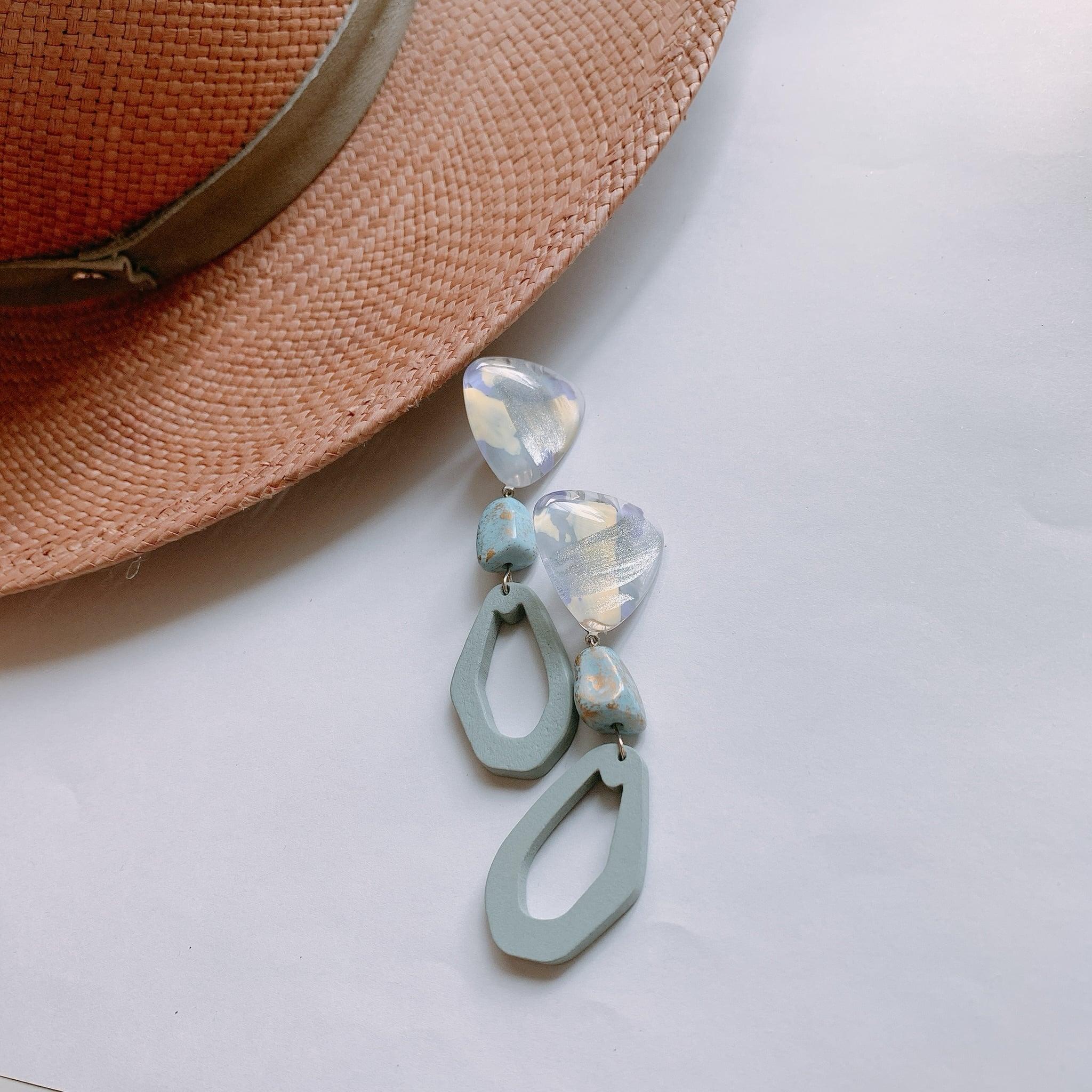 """"""" Earrings NO.danoan-1-1679″ ペイントウッドビーズ"""