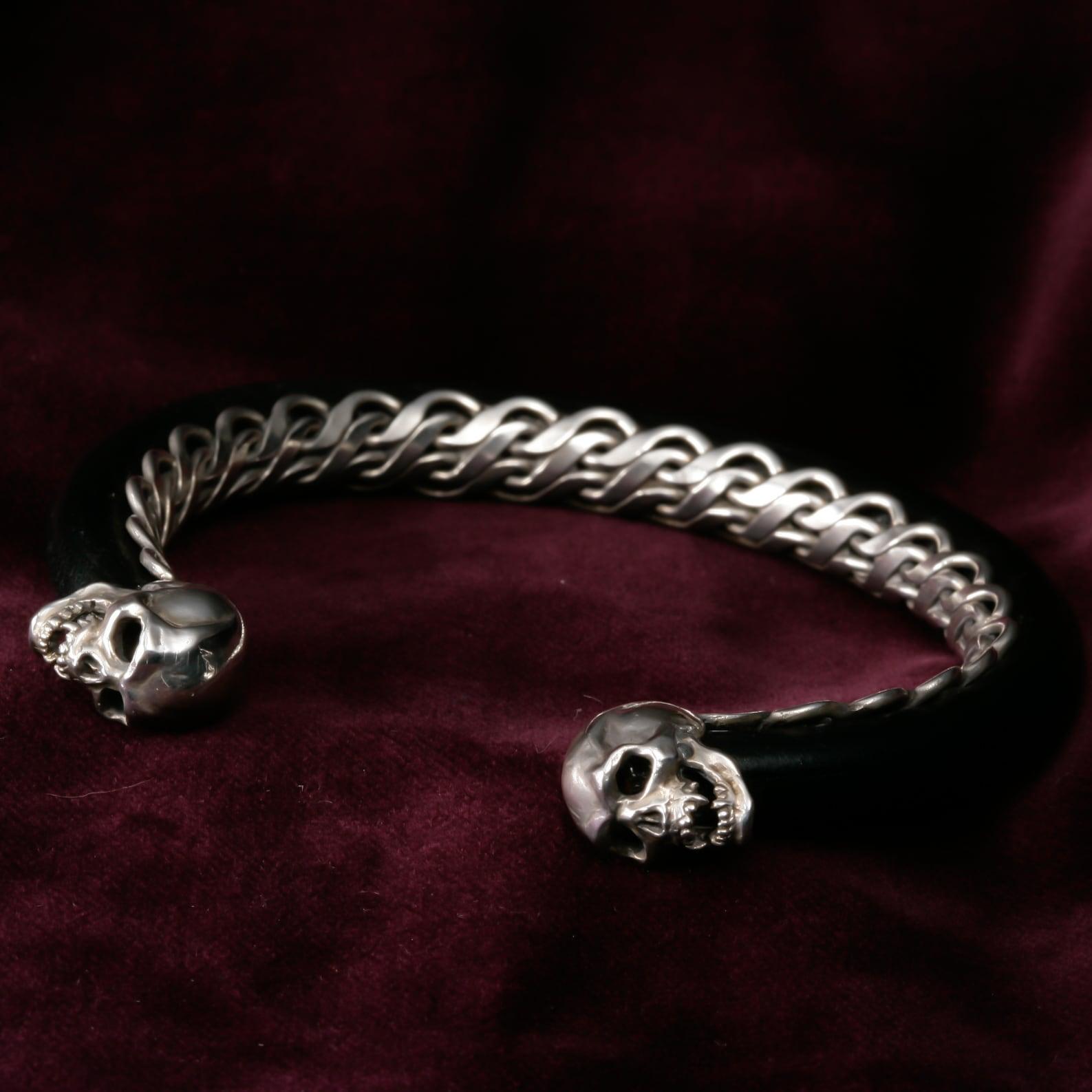 Skull & Snake Bangle with Rod-Shaped Leather