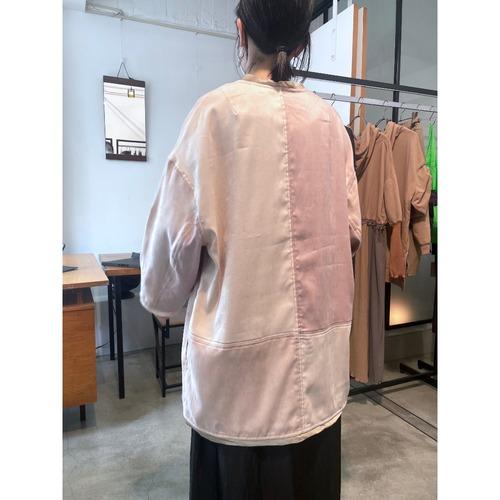 【RehersalL】suede no collar coat(pink) /【リハーズオール】スエードノーカラーコート(ピンク)