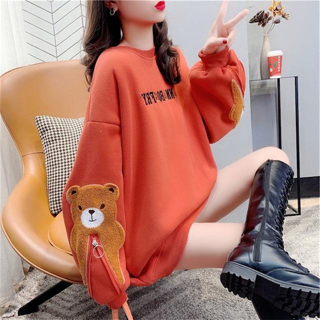 【トップス】可愛いデザイン クマ柄 ラウンドネック ゆったり カジュアル  秋冬 パーカー52631779