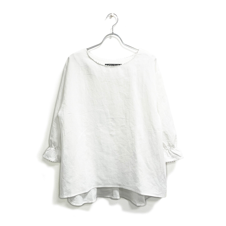 麻綿・バック刺繍プルオーバー