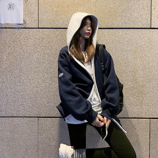 【アウター】韓国風ファッション 人気上昇中 ファッション 切り替え 配色 フード付き ゆったり カーディガン-2-53905485