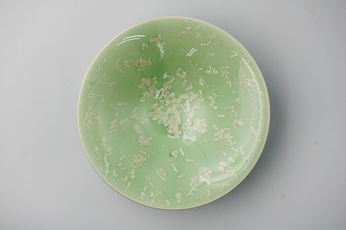 ◆受注生産◆結晶釉緑雪華平鉢 安藤寛泰作