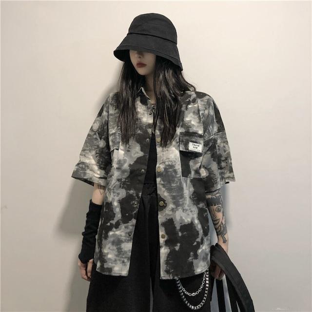 【トップス】レトロ韓国系ゆったり合わせやすいタイダイシャツ42896269