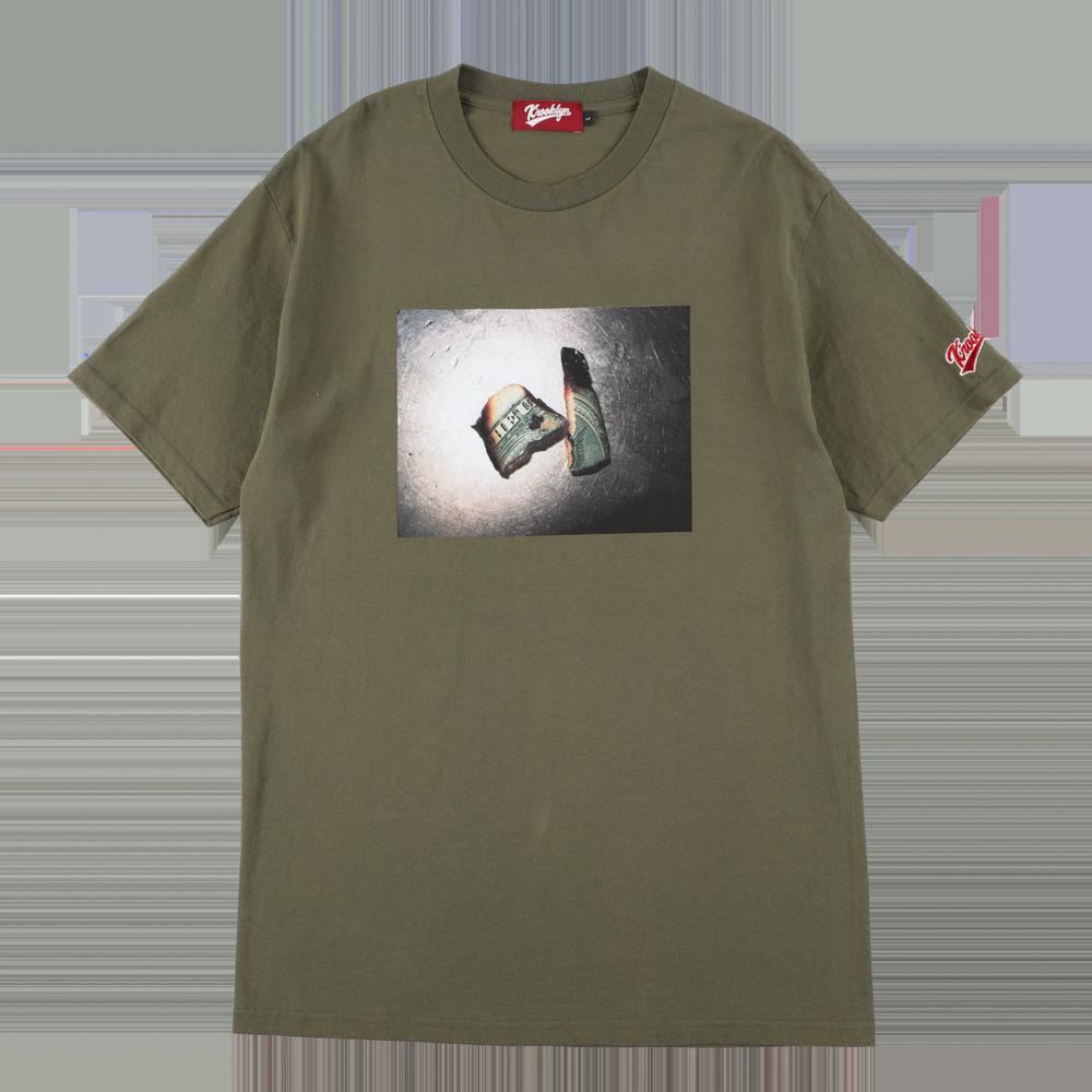 "K'rooklyn × Akimoto Fukuda Collaboration T-Shirts ""DOLLAR"" -Olive Green-"
