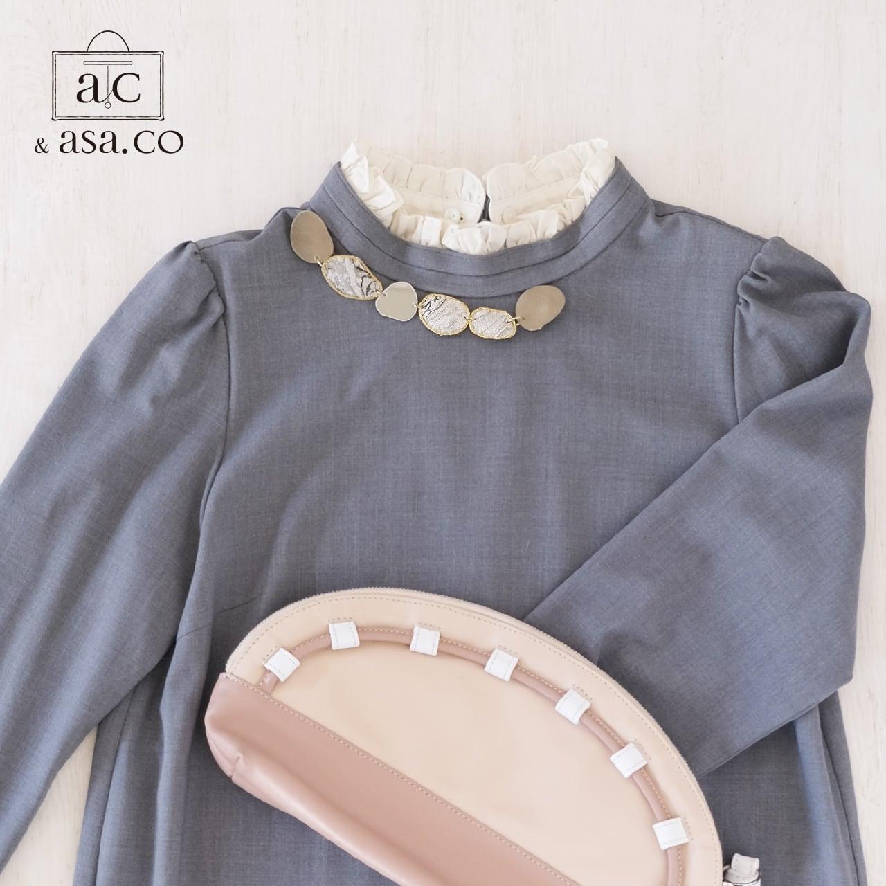 きらめき上品な衿元に 麻のブローチ〈 NeckStone 〉墨