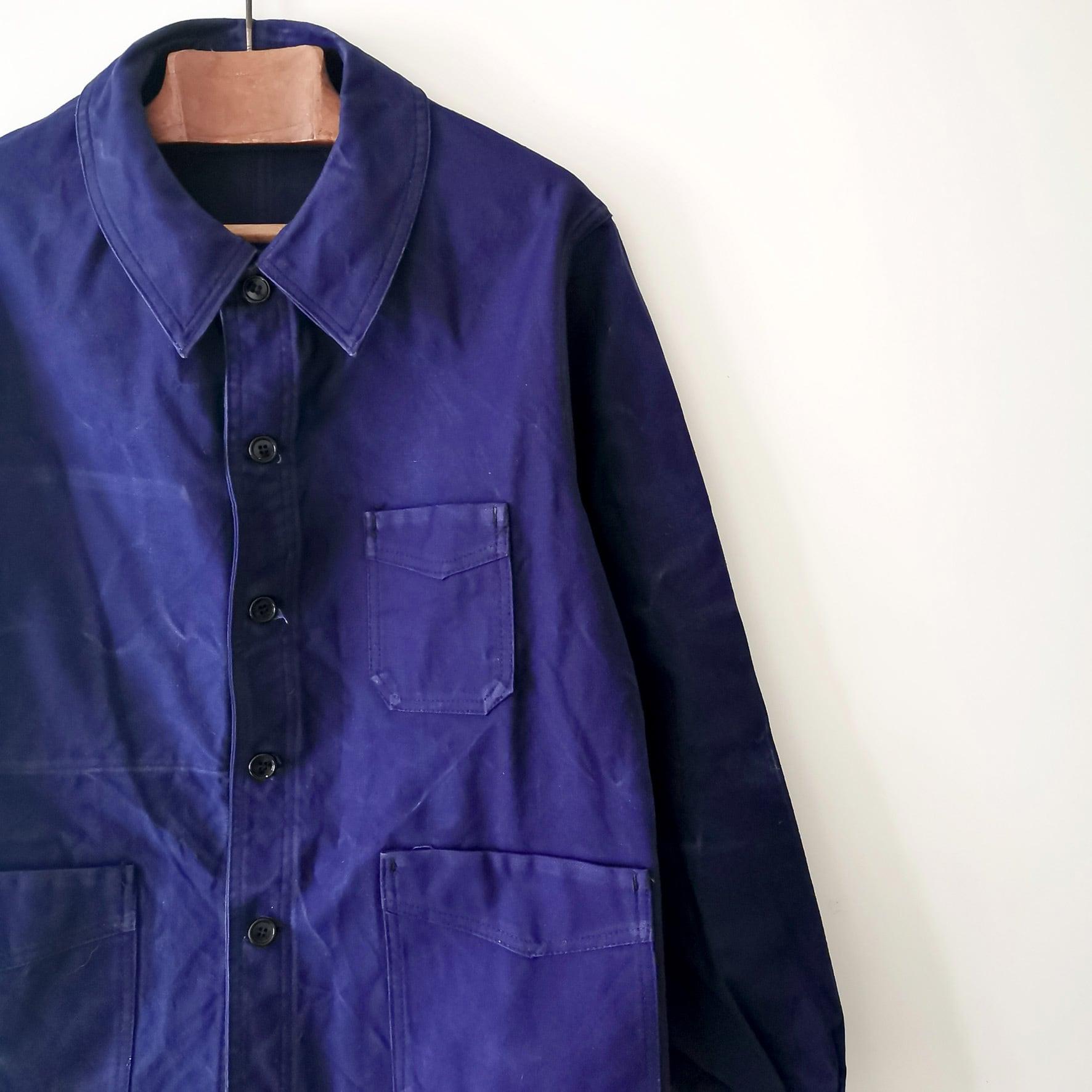 【MADE IN FRANCE】【DEADSTOCK】Vポケット ブルーワークジャケット