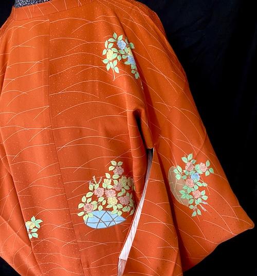 〈薔薇模様の道行コート〉絵羽 道行 橙色 トール 送料無料 