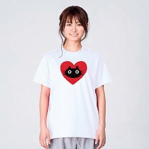 黒猫とハート Tシャツ メンズ レディース 半袖 大きいサイズ