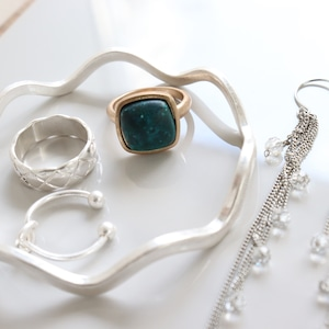 SET ITEMS || 【通常商品】 GREEN STONE & SILVER 5 SET || 5 ITEMS || SILVER || CRSR0626D