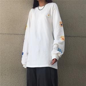 【トップス】韓国系ラウンドネックプルオーバー長袖Tシャツ43008164