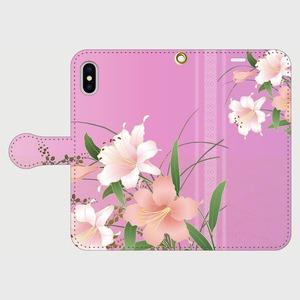 博多献上×花百合(ピンク) iPhone専用・手帳型(帯あり)