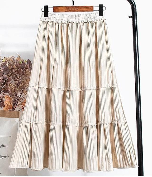 【スカート】スウェードタイプ プリーツ フリル スカート・オフホワイト