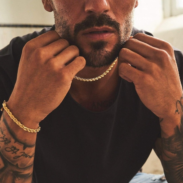 Rope Chain Necklace & Bracelet Set