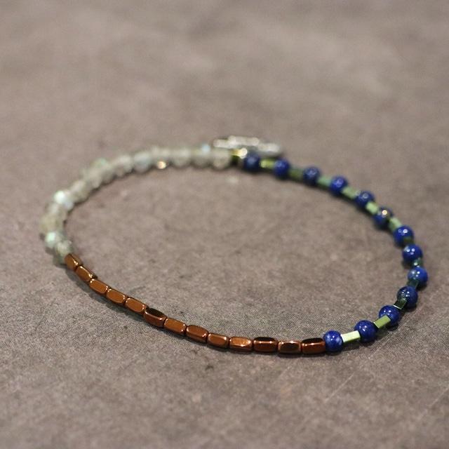 【COSMIC BLUE】ラピスラズリ×ラブラドライト×ヘマタイト  〈スリーパート〉ブレスレット