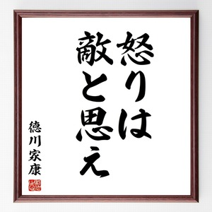 徳川家康の名言書道色紙『怒りは敵と思え』額付き/受注後直筆(千言堂)Z2578
