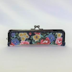 がまぐち財布013紺紺花ビーズ刺繍