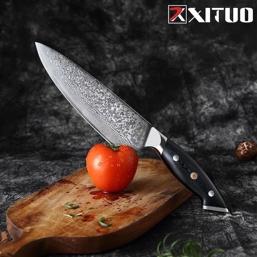 ダマスカス包丁 【XITUO 公式】  牛刀 刃渡り 19.2cm  VG10  ks20082315