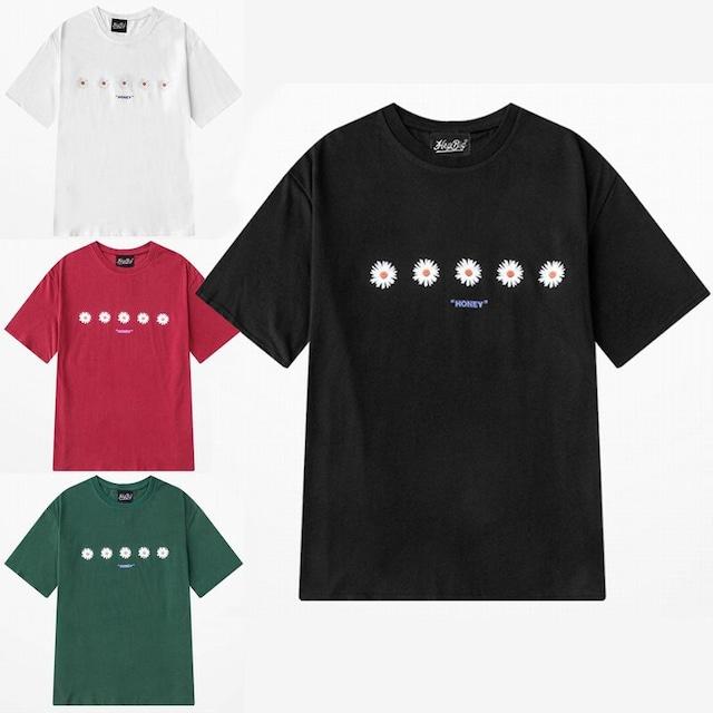 ユニセックス 半袖 Tシャツ メンズ レディース シンプル 5輪の花 フラワープリント オーバーサイズ 大きいサイズ ルーズ ストリート TBN-615841714466