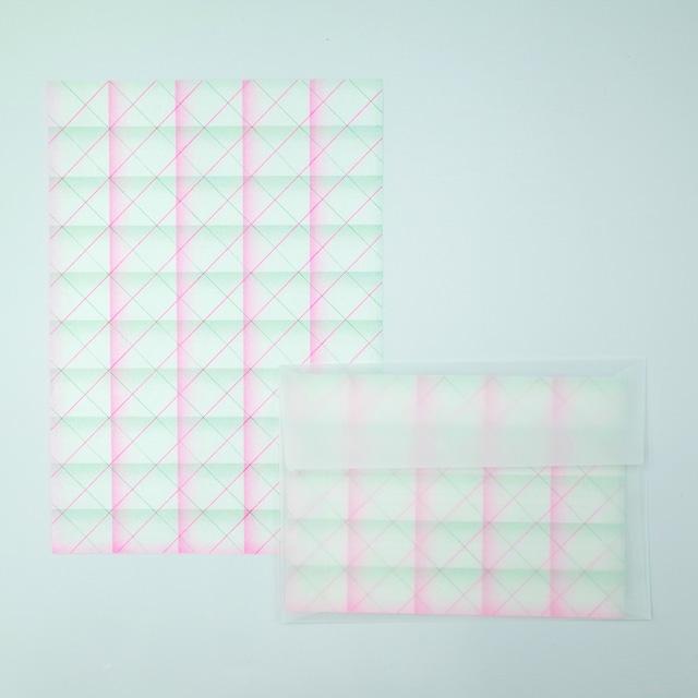オリジナル レターセット(便箋12枚・封筒3枚)<細チェック柄>