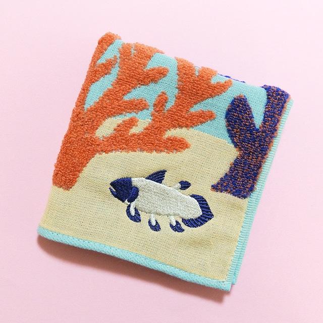 《魚/シーラカンス》 ハンカチ 海 珊瑚 morita MiW ガーゼパイルハンカチ 綿100% 刺繍