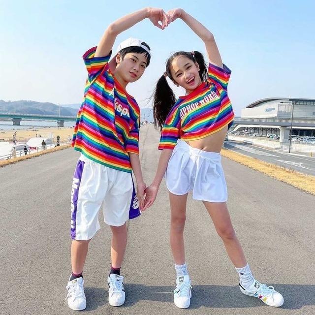 110~180cm ★ 男の子 女の子 セットアイテム ツーピース HIPHOP ダンス着 半袖 トップス ショートパンツ