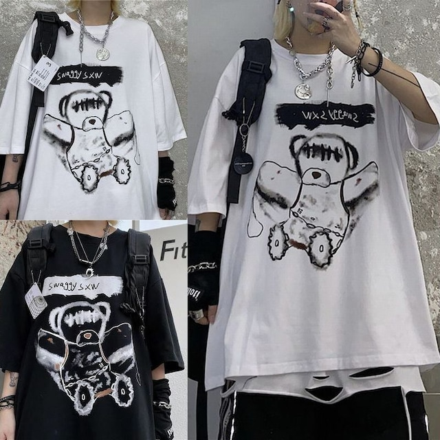 ユニセックス Tシャツ 半袖 ドロップショルダー ダーティーベア ラウンドネック オーバーサイズ 韓国ファッション メンズ レディース トップス 大きめ 暗黒系 ストリートファッション TBN-621077252226