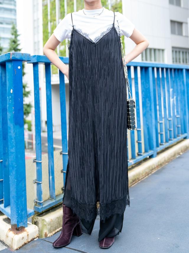 【WOMENS - 1 size】PLEATS CAMISOLE DRESS / Black