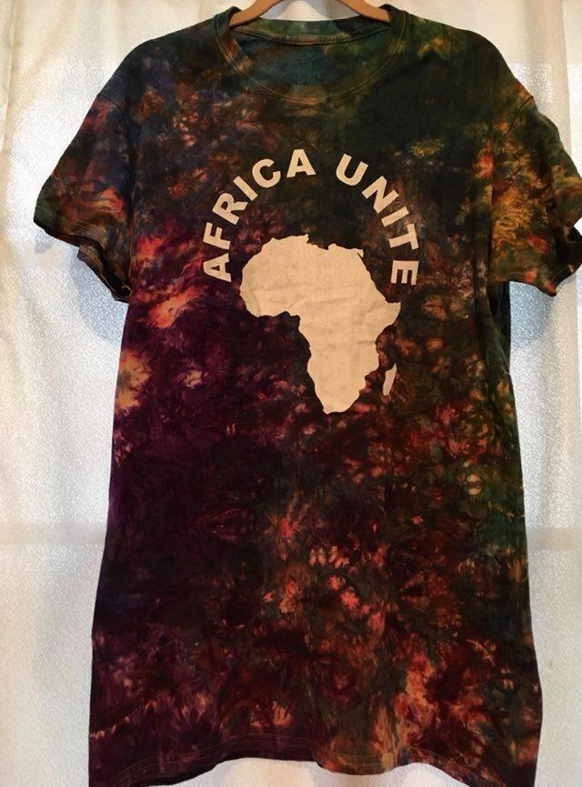 ガーナの手染めTシャツ【M】 AFRICA UNITE-⑫