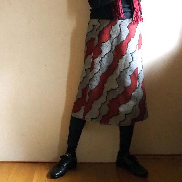 秋色雲模様ラップスカート【受注制作】-綿着物(古布)から