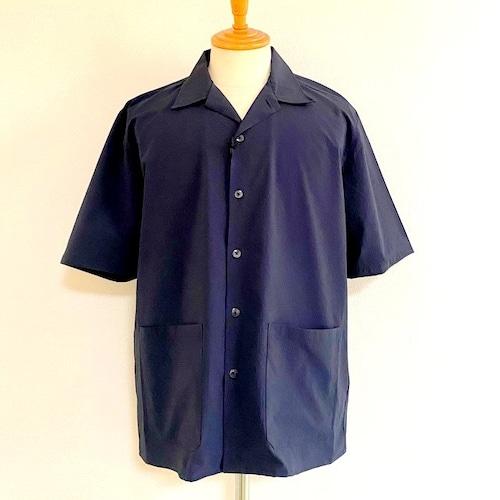 SOLOTEX DRY Seersucker Gingham Open Collar Half Sleeve Shirts Navy