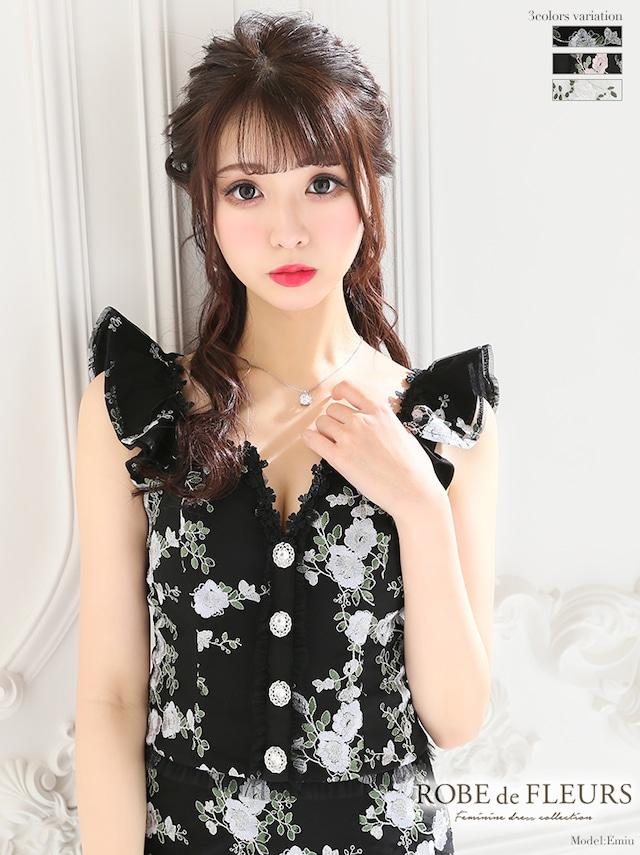 【ROBE de FLEURS】刺繍レース×ラグジュアリーセットアップタイトドレス(fm1978)