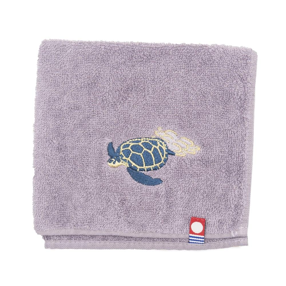 アオウミガメ刺繍のタオルハンカチ 今治タオル
