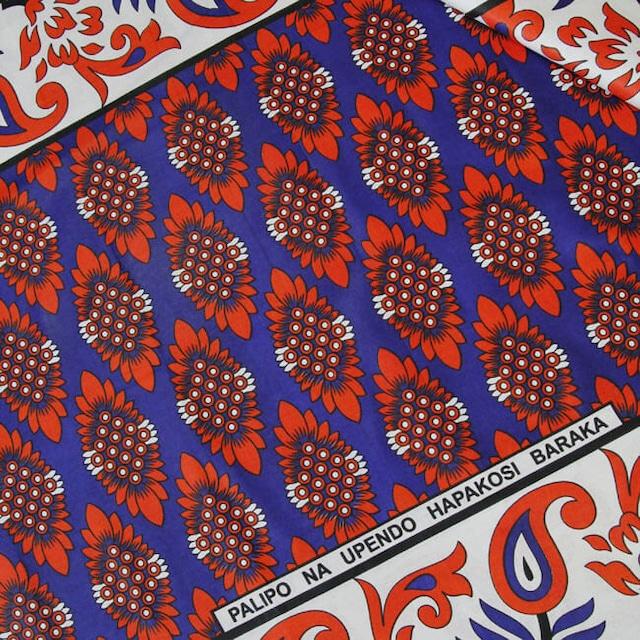 カンガ|オリエンタルブルー × スカーレット  フラワー