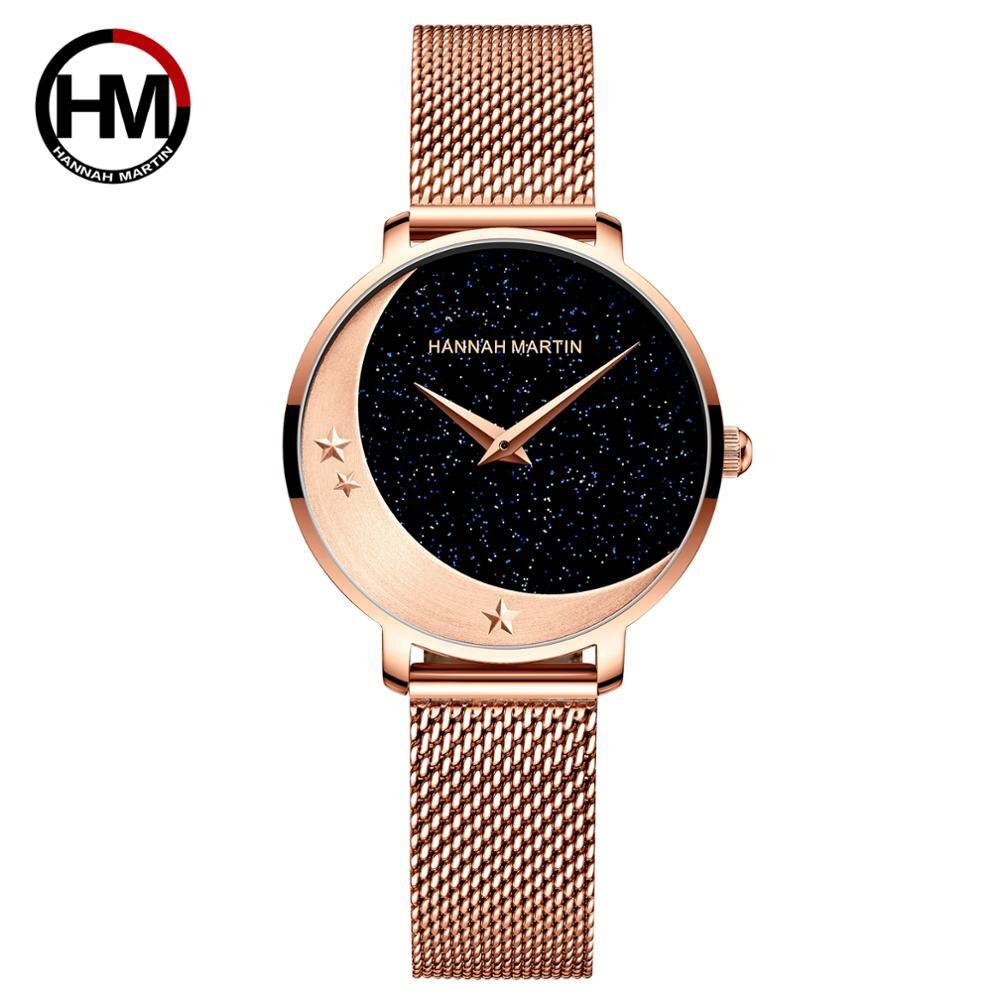 2035クォーツムーブメントステンレススチール腕時計ムーンスター女性のためのナイトフラッシュウォッチ1334F