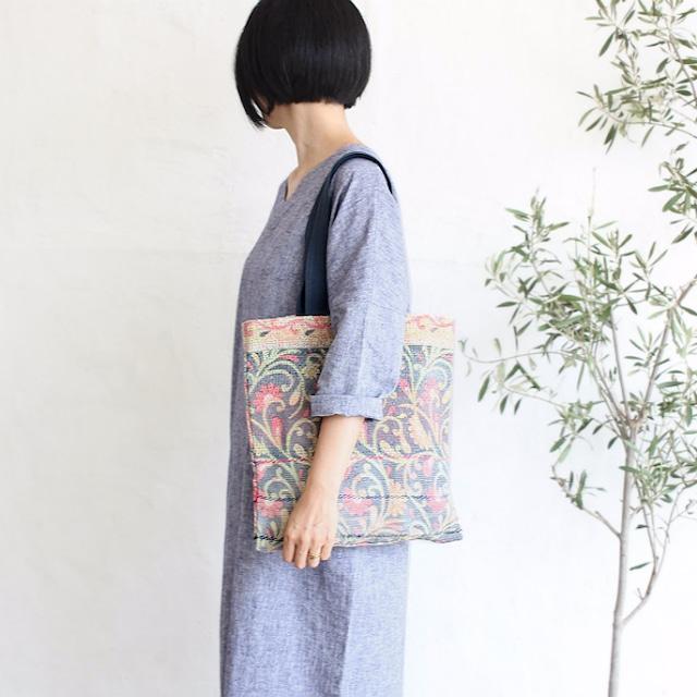 刺し子カンタキルトの肩掛けトートバッグ【花柄】