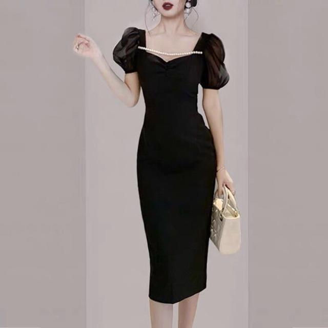 新作女性ファッション 2021年ワンピースドレス ワンピース 半袖 半袖ワンピース パフスリーブ ワンピース ドレス ワンピース タイト ワンピース タイトワンピ タイトドレス パーティードレス タイト 膝下ワンピース ハイウエスト ワンピース パール デコルテ見せ P7749
